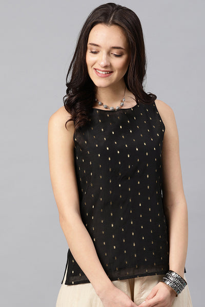Chanderi Top in Black