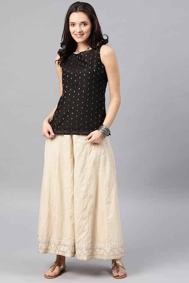 Desi Weaves Chanderi Top in Black