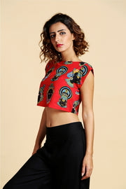 Desi Weaves Blended Cotton Printed Top in Red
