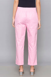 Blended Cotton Trouser in Pink