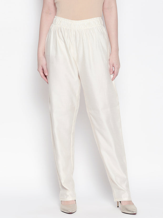 Chanderi Solid Trouser in White