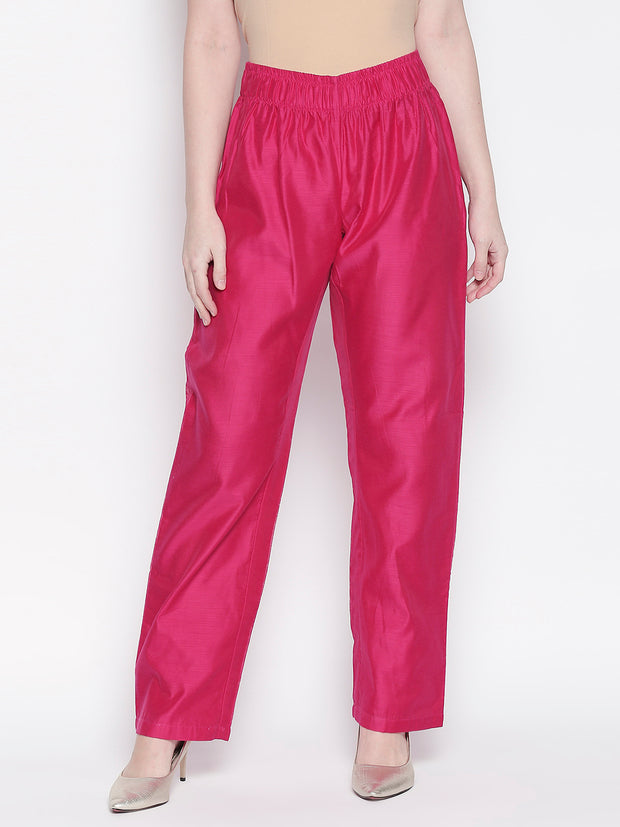 Chanderi Solid Trouser in Pink