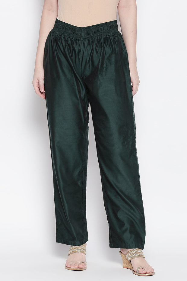 Chanderi Solid Trouser in Dark Green