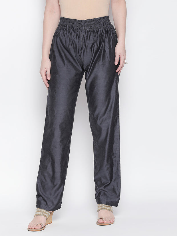 Chanderi Solid Trouser in Grey