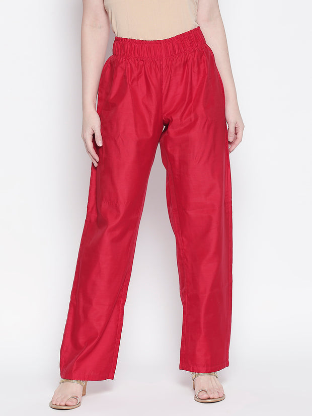Chanderi Solid Trouser in Red