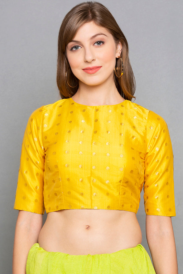 Desi Weaves Brocade Blouse in Yellow