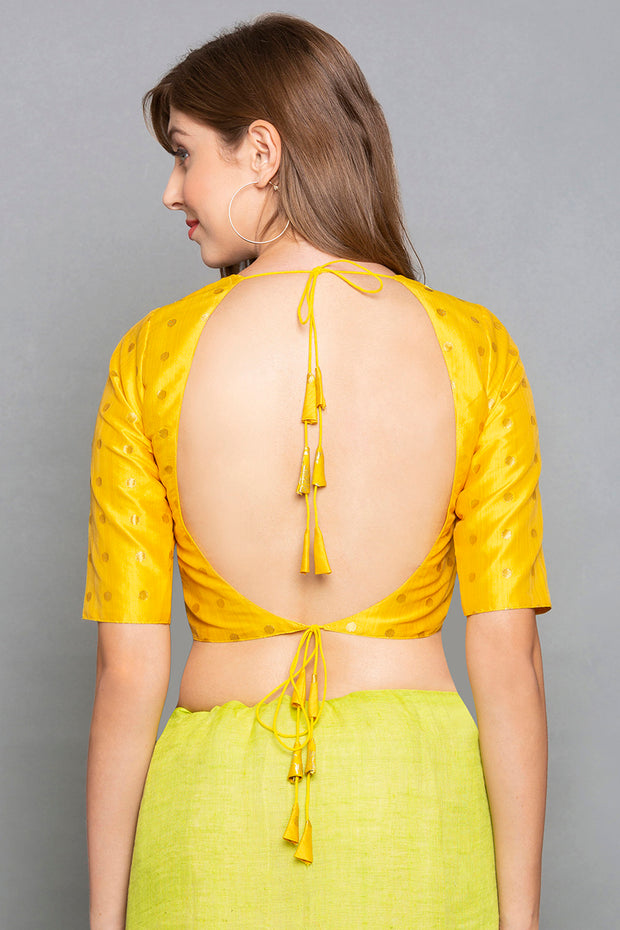 Brocade Blouse in Yellow