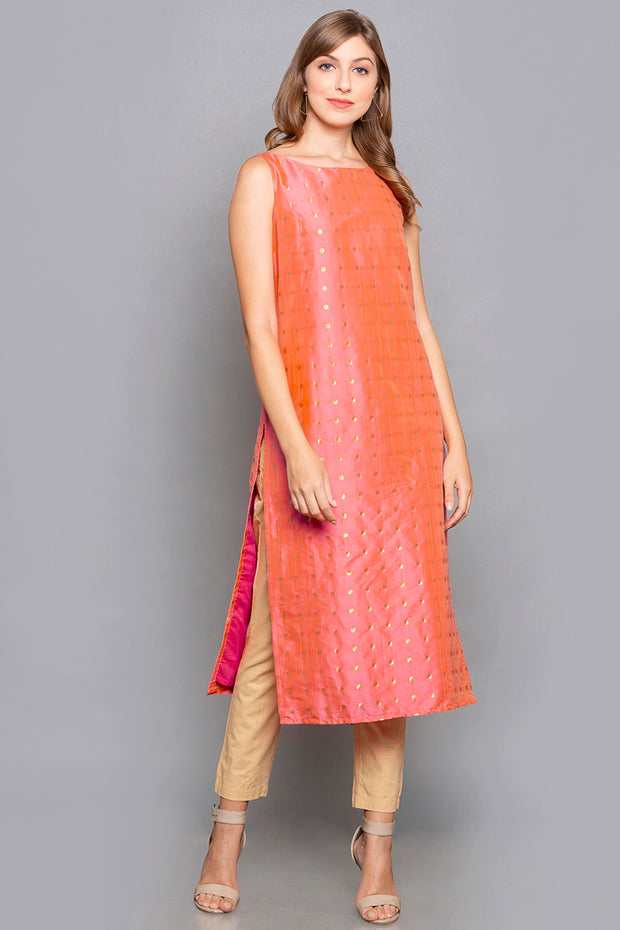 Brocade Dress with Shrug in Off White And Pink