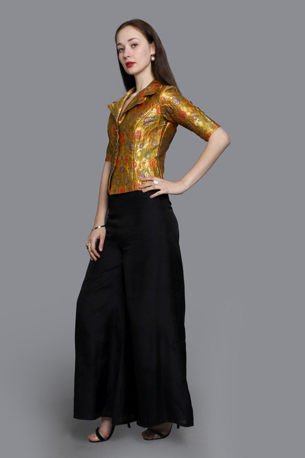 Brocade Woven Blouse in Gold