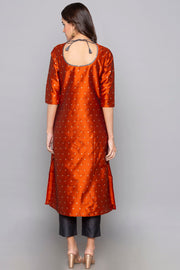 Art Silk Kurta in Orange