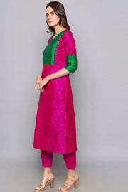 Art Silk Kurta in Fuchsia