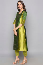 Art Silk Anarkali Kurta in Dark And Light Green