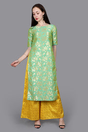 Brocade Woven Suit Set in Green