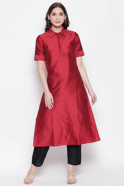 Art Silk Solid Kurta in Maroon