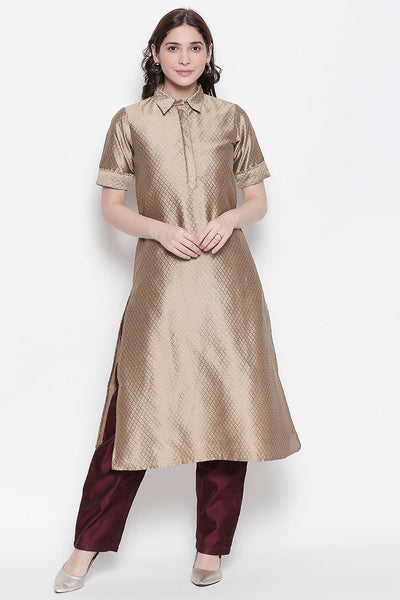 Art Silk Solid Kurta in Beige