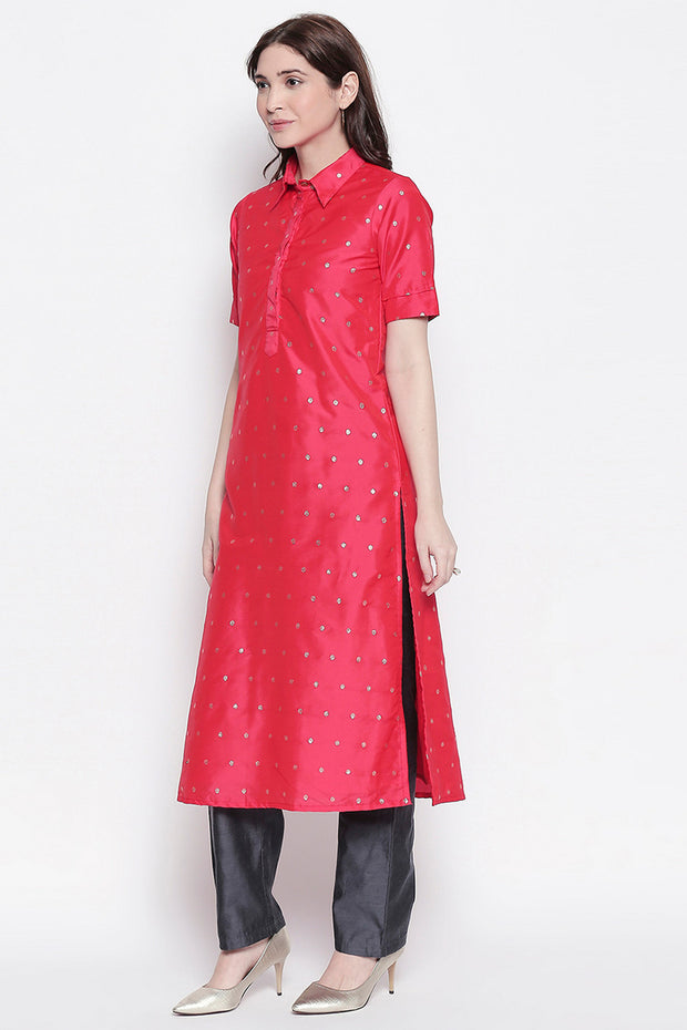 Chanderi Solid Kurta in Red
