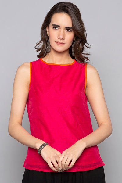 Art Silk Top in Fuchsia