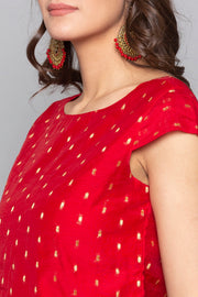 Desi Weaves Art Silk Top in Red