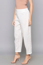 Blended Cotton Trouser in White