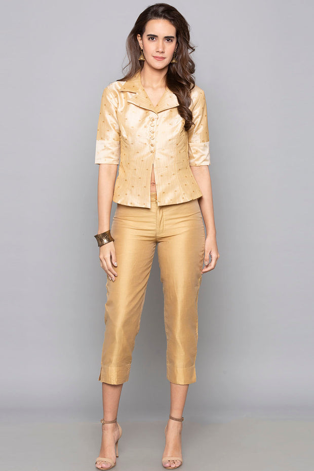 Art Silk Trouser in Gold Beige