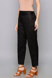 Blended Cotton Trouser in Black