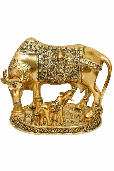 Metal Cow and Calf Statue in Gold