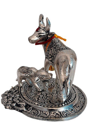 Aluminum One Cow and Calf Statue in Silver