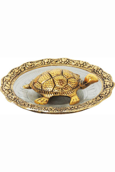 Aluminum Piece Of Tortoise With Plate in Gold