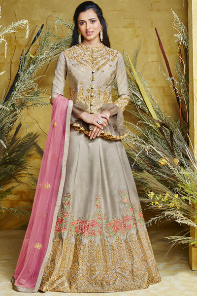 Art Silk Embroidered Dress Material in Beige