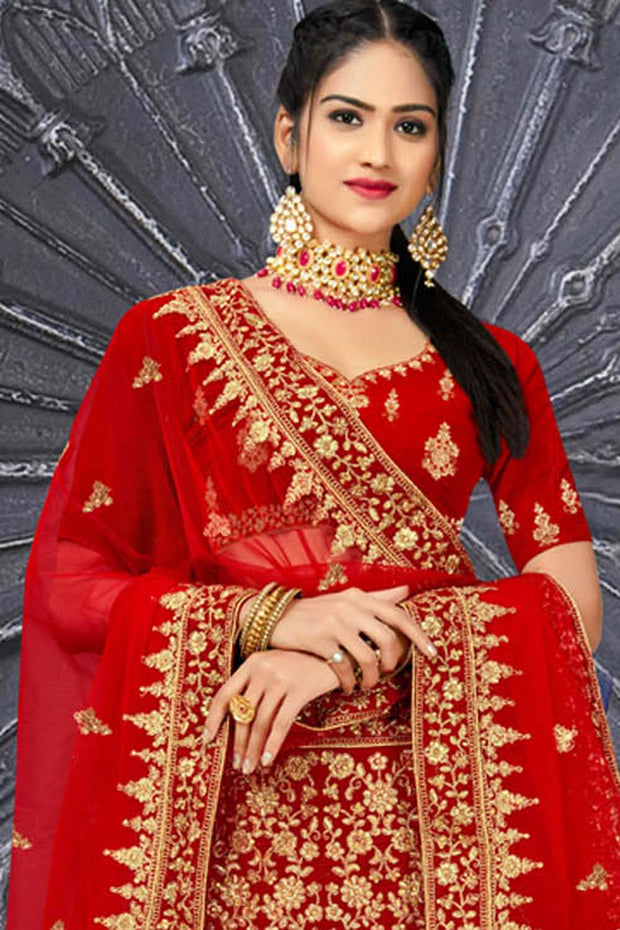Velvet Embroidered Lehenga Choli in Red