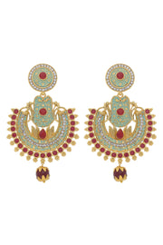 Alloy Chandbali Earring in Red and Sky Blue