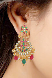 Alloy Drop Earring in Red and Green