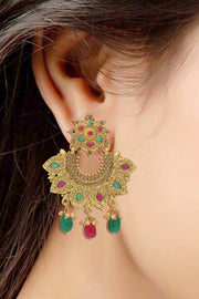 Alloy Chandbali Earring in Red and Green