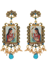 Alloy Drop Earring in Blue