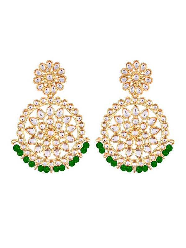 Women's Alloy Chandbali Earrings in Green