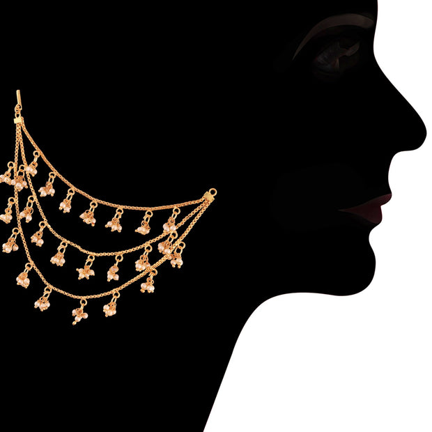 I Jewels Women's Alloy Hair Chain Accessories for Earrings in Gold