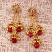 I Jewels Women's Alloy Jhumka Earring in Red