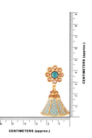 Alloy Jhumka Earrings in turquoise