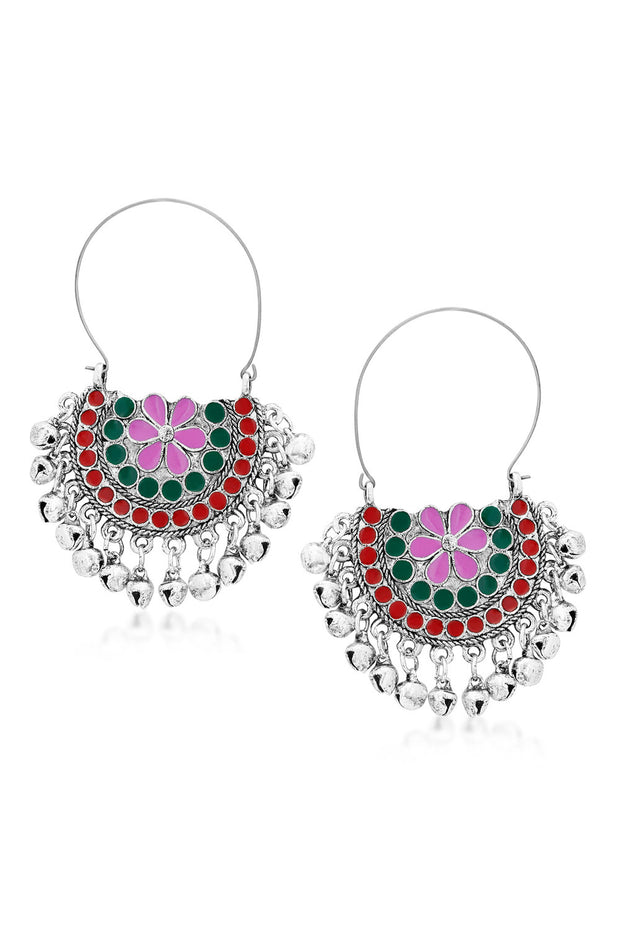 Alloy Chandbali Earrings in Red and Green