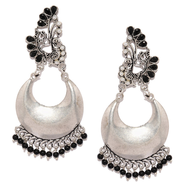Alloy Chandbali Earrings in Silver