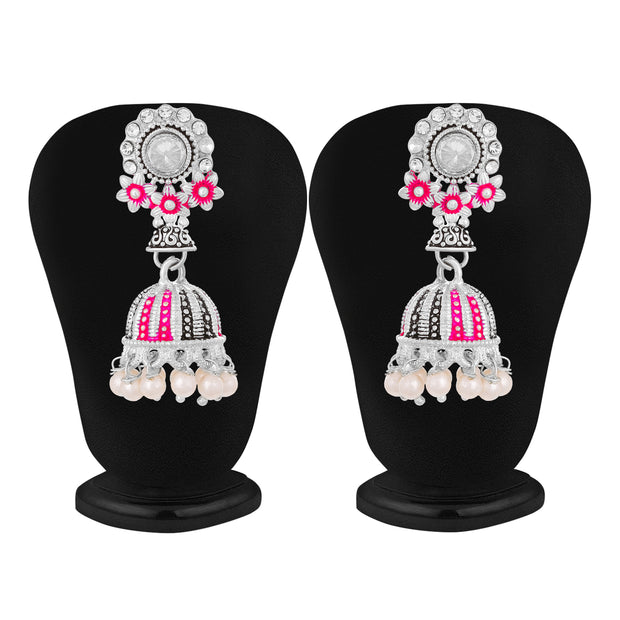 Alloy Jhumka Earrings in Grey