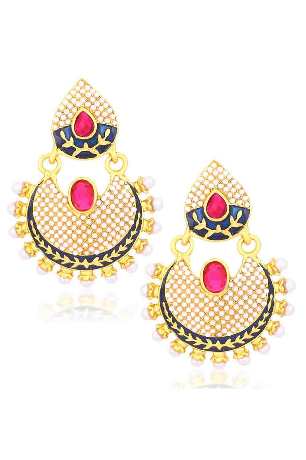 Alloy Chandbali Earrings in Pink and Blue