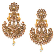 Alloy Chandbali Earrings in Gold