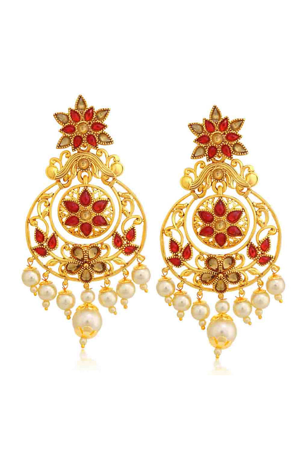 Alloy Chandbali Earrings in Red