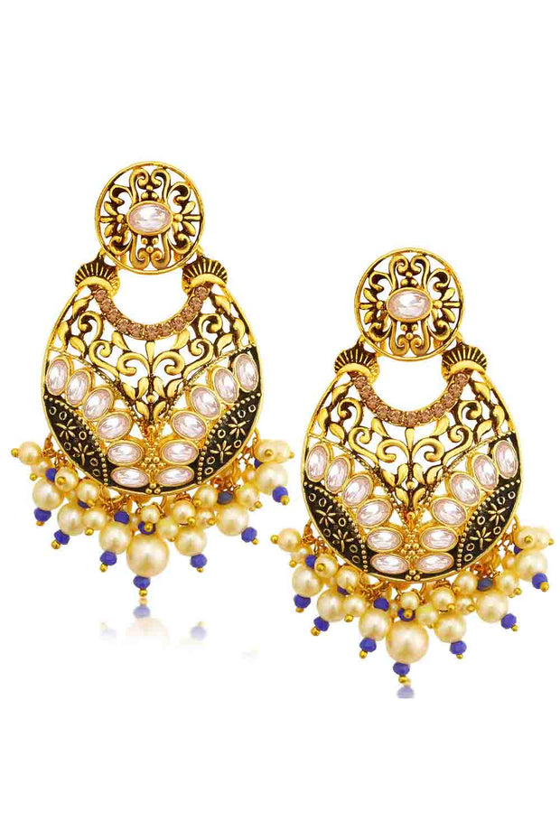 Alloy Chandbali Earrings in Blue