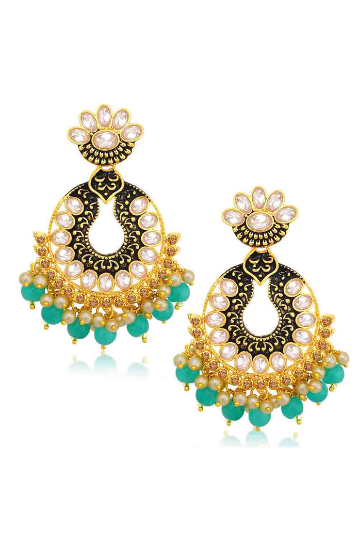 Alloy Chandbali Earrings in Sky Blue