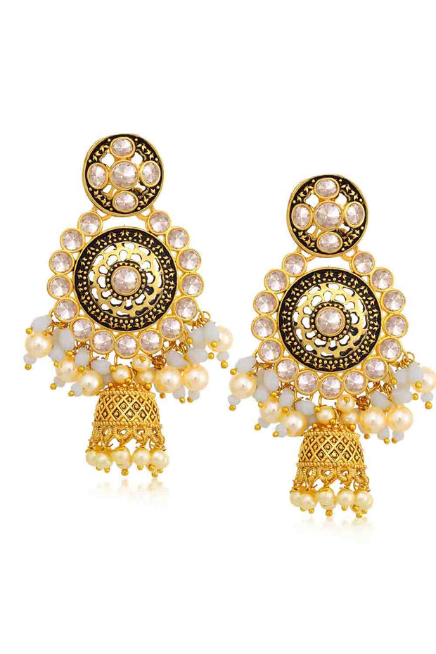 Alloy Jhumka Earrings in Gold and White