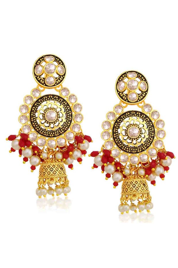Alloy Jhumka Earrings in Red