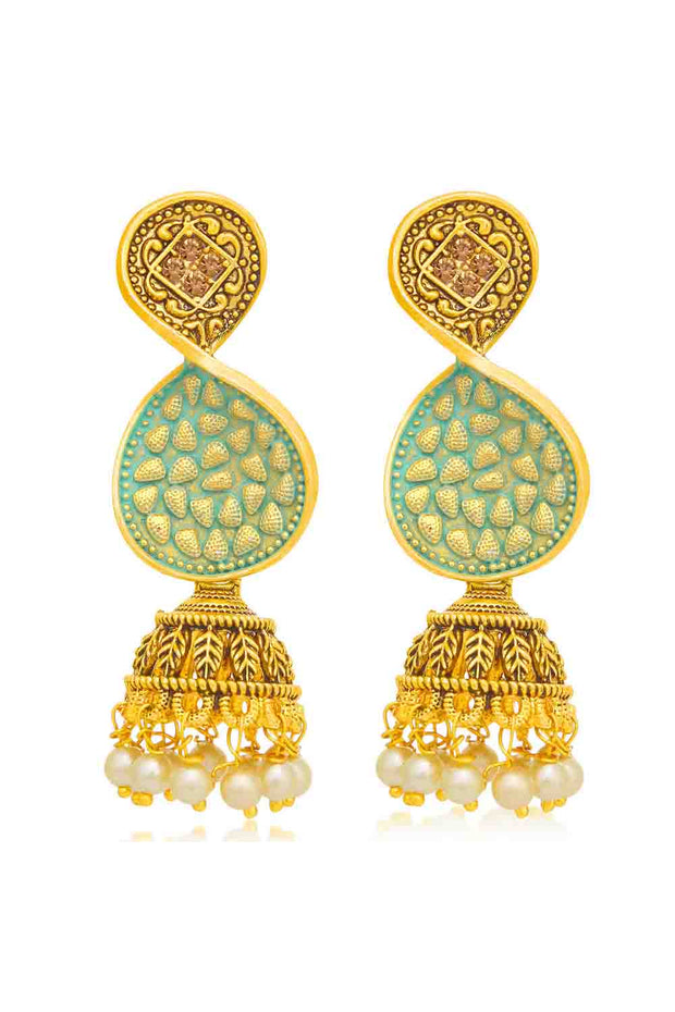 Alloy Jhumka Earrings in Sky Blue