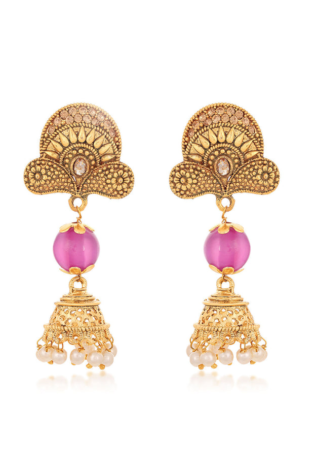 Alloy Jhumka Earrings in Purple